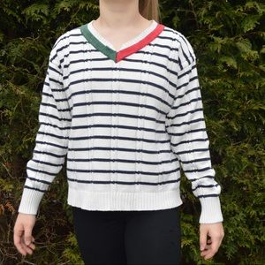 Tommy Hilfiger Large Striped Black White Red Green